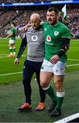 23 February 2020; Cian Healy of Ireland leaves the pitch accompanied by team masseur Dave Revins during the Guinness Six Nations Rugby Championship match between England and Ireland at Twickenham Stadium in London, England. Photo by Brendan Moran/Sportsfile