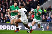 23 February 2020; Ross Byrne of Ireland throws a pass during the Guinness Six Nations Rugby Championship match between England and Ireland at Twickenham Stadium in London, England. Photo by Brendan Moran/Sportsfile