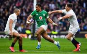 23 February 2020; Bundee Aki of Ireland breaks away from Jonathan Joseph and Owen Farrell of England during the Guinness Six Nations Rugby Championship match between England and Ireland at Twickenham Stadium in London, England. Photo by Brendan Moran/Sportsfile