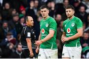23 February 2020; Jonathan Sexton, left, and Ross Byrne of Ireland during the Guinness Six Nations Rugby Championship match between England and Ireland at Twickenham Stadium in London, England. Photo by Brendan Moran/Sportsfile