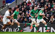 23 February 2020; Caelan Doris of Ireland makes a break, supported by team-mates Rónan Kelleher and James Ryan, during the Guinness Six Nations Rugby Championship match between England and Ireland at Twickenham Stadium in London, England. Photo by Brendan Moran/Sportsfile