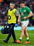 23 February 2020; Andrew Conway of Ireland leaves the pitch accompanied by Team doctor Dr Ciaran Cosgrave during the Guinness Six Nations Rugby Championship match between England and Ireland at Twickenham Stadium in London, England. Photo by Brendan Moran/Sportsfile