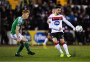 24 February 2020; Jordan Flores of Dundalk in action against Alec Byrne of Cork City during the SSE Airtricity League Premier Division match between Dundalk and Cork City at Oriel Park in Dundalk, Louth. Photo by Seb Daly/Sportsfile