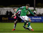 24 February 2020; Beineón O'Brien Whitmarsh of Cork City in action against Sean Hoare of Dundalk during the SSE Airtricity League Premier Division match between Dundalk and Cork City at Oriel Park in Dundalk, Louth. Photo by Seb Daly/Sportsfile