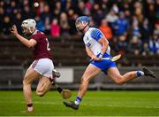 23 February 2020; Patrick Curran of Waterford sees his shot blocked by Darren Morrissey of Galway  during the Allianz Hurling League Division 1 Group A Round 4 match between Waterford and Galway at Walsh Park in Waterford. Photo by Seb Daly/Sportsfile