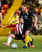 21 February 2020; Ryan Connolly of Finn Harps in action against Conor Clifford of Derry City during the SSE Airtricity League Premier Division match between Derry City and Finn Harps at Ryan McBride Brandywell Stadium in Derry. Photo by Oliver McVeigh/Sportsfile