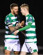 24 February 2020; Rhys Marshall, right, and Lee Grace of Shamrock Rovers celebrate their opening goal during the SSE Airtricity League Premier Division match between Waterford United and Shamrock Rovers at the RSC in Waterford. Photo by Stephen McCarthy/Sportsfile