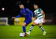 24 February 2020; Robbie McCourt of Waterford United and Lee Grace of Shamrock Rovers during the SSE Airtricity League Premier Division match between Waterford and Shamrock Rovers at the RSC in Waterford. Photo by Stephen McCarthy/Sportsfile