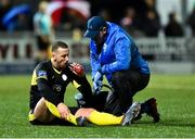 21 February 2020; Shane McEleney of Finn Harps being attended to during the SSE Airtricity League Premier Division match between Derry City and Finn Harps at Ryan McBride Brandywell Stadium in Derry. Photo by Oliver McVeigh/Sportsfile