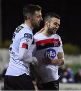 24 February 2020; Michael Duffy of Dundalk, right, celebrates after scoring his side's first goal with team-mate Jordan Flores during the SSE Airtricity League Premier Division match between Dundalk and Cork City at Oriel Park in Dundalk, Louth. Photo by Ben McShane/Sportsfile