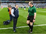 22 February 2020; Wexford manager Davy Fitzgerald with referee Johnny Murphy prior to the Allianz Hurling League Division 1 Group B Round 4 match between Dublin and Wexford at Croke Park in Dublin. Photo by Eóin Noonan/Sportsfile