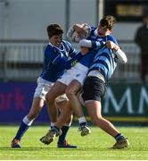25 February 2020; Evan Moynihan of St Mary's College is tackled by Sam Wisniewski of St Vincent's Castleknock College during the Bank of Ireland Leinster Schools Junior Cup Second Round match between St Vincent's Castleknock College and St Mary's College at Energia Park in Dublin. Photo by Daire Brennan/Sportsfile