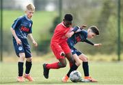 23 February 2020; Dezell Obenge of Cork SL in action against Eric Schutte of DDSL during the U13 SFAI Subway Liam Miller Cup National Championship Final match between Cork SL and DDSL at Mullingar Athletic FC in Gainestown, Co. Westmeath. Photo by Eóin Noonan/Sportsfile