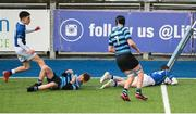 25 February 2020; Daniel McNulty of St Mary's College scores his side's first try during the Bank of Ireland Leinster Schools Junior Cup Second Round match between St Vincent's Castleknock College and St Mary's College at Energia Park in Dublin. Photo by Daire Brennan/Sportsfile