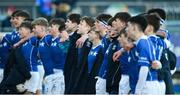 25 February 2020; Dejected St Mary's College players sing their school anthem after the Bank of Ireland Leinster Schools Junior Cup Second Round match between St Vincent's Castleknock College and St Mary's College at Energia Park in Dublin. Photo by Daire Brennan/Sportsfile