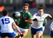 23 February 2020; Aidan O'Shea of Mayo in action against Conor McManus and Niall Kearns of Monaghan during the Allianz Football League Division 1 Round 4 match between Monaghan and Mayo at St Tiernach's Park in Clones, Monaghan. Photo by Oliver McVeigh/Sportsfile