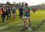 23 February 2020; A disappointed Kevin McLoughlin of Mayo leaves the pitch after the Allianz Football League Division 1 Round 4 match between Monaghan and Mayo at St Tiernach's Park in Clones, Monaghan. Photo by Oliver McVeigh/Sportsfile