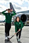 26 February 2020; The Olympic Federation of Ireland will fly athletes in business class to the Olympic Games in Tokyo with Qatar Airways. With less than five months left until the Opening Ceremony in Tokyo, the composition of Team Ireland is starting to take real shape. Qatar Airways has a 5 star rating by Skytrax, which also awarded the airline 'World's Best Business Class'. Athletes will benefit from the full lie flat beds and catering to suit their nutritional routine. The mood lighting will adjust the athletes' body clock to the Tokyo time zone and the cabin is pressureised to a lower altitude which equates to more oxygen and less travel fatigue. In attendance at the announcement are swimmer Darragh Greene and hockey player Anna O'Flanagan. Photo by Brendan Moran/Sportsfile