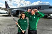 26 February 2020; The Olympic Federation of Ireland will fly athletes in business class to the Olympic Games in Tokyo with Qatar Airways. With less than five months left until the Opening Ceremony in Tokyo, the composition of Team Ireland is starting to take real shape. Qatar Airways has a 5 star rating by Skytrax, which also awarded the airline 'World's Best Business Class'. Athletes will benefit from the full lie flat beds and catering to suit their nutritional routine. The mood lighting will adjust the athletes' body clock to the Tokyo time zone and the cabin is pressureised to a lower altitude which equates to more oxygen and less travel fatigue. In attendance at the announcement are Hockey player Anna O'Flanagan and swimmer Darragh Greene. Photo by Brendan Moran/Sportsfile