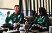 26 February 2020; The Olympic Federation of Ireland will fly athletes in business class to the Olympic Games in Tokyo with Qatar Airways. With less than five months left until the Opening Ceremony in Tokyo, the composition of Team Ireland is starting to take real shape. Qatar Airways has a 5 star rating by Skytrax, which also awarded the airline 'World's Best Business Class'. Athletes will benefit from the full lie flat beds and catering to suit their nutritional routine. The mood lighting will adjust the athletes' body clock to the Tokyo time zone and the cabin is pressureised to a lower altitude which equates to more oxygen and less travel fatigue. In attendance at the announcement are swimmer Darragh Greene and hockey player Anna O'Flanagan enjoying the facilities of the East Lounge. Photo by Brendan Moran/Sportsfile