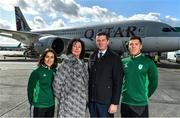 26 February 2020; The Olympic Federation of Ireland will fly athletes in business class to the Olympic Games in Tokyo with Qatar Airways. With less than five months left until the Opening Ceremony in Tokyo, the composition of Team Ireland is starting to take real shape. Qatar Airways has a 5 star rating by Skytrax, which also awarded the airline 'World's Best Business Class'. Athletes will benefit from the full lie flat beds and catering to suit their nutritional routine. The mood lighting will adjust the athletes' body clock to the Tokyo time zone and the cabin is pressureised to a lower altitude which equates to more oxygen and less travel fatigue. In attendance at the announcement are, from left, hockey player Anna O'Flanagan, Team Ireland Chef de Mission Tricia Heberle, Olympic Federation of Ireland CEO Peter Sherrard and swimmer Darragh Greene. Photo by Brendan Moran/Sportsfile
