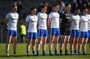 23 February 2020; Monaghan players, from left, Kieran Hughes, Ryan Wylie, Darren Hughes, Niall Kearns, Rory Beggan, Drew Wylie, and Michael Bannigan before the Allianz Football League Division 1 Round 4 match between Monaghan and Mayo at St Tiernach's Park in Clones, Monaghan. Photo by Oliver McVeigh/Sportsfile