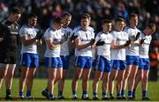 23 February 2020; Monaghan players, from left, Rory Beggan, Drew Wylie, Michael Bannigan, Conor Boyle, Dessie Ward, Dessie Ward, Dermot Malone, Conor McCarthy, Kieran Duffy and Ryan McAnespie before the Allianz Football League Division 1 Round 4 match between Monaghan and Mayo at St Tiernach's Park in Clones, Monaghan. Photo by Oliver McVeigh/Sportsfile
