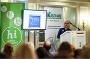 28 February 2020; Carol Maybury of Leinster Rugby speaks during Kildare Sports Partnership's Back to Basics Seminar at The Keadeen Hotel in Newbridge, Kildare. Photo by Harry Murphy/Sportsfile