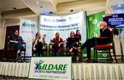 28 February 2020; A general view of the Women In Sport Discussion Panel, from left, Lead of Women in Sport at Sport Ireland Nora Stapleton, Former Irish Rugby International Alison Miller, Former FAI International Women's U17 Coach Laura Cusack and All Star Camogie Player Aoife Murray in conversation with MC Ray D'Arcy during Kildare Sports Partnership's Back to Basics Seminar at Keadeen Hotel in Newbridge, Kildare. Photo by Harry Murphy/Sportsfile