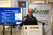 28 February 2020; Syl Merrins of Kildare Sports Partnership speaks during Kildare Sports Partnership's Back to Basics Seminar at Keadeen Hotel in Newbridge, Kildare. Photo by Harry Murphy/Sportsfile