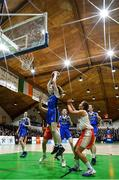 27 February 2020; (EDITOR'S NOTE: This image was created using a starburst filter) Lucy McManus of Loreto Abbey Dalkey in action against Rebecca Reddin of Scoil Chriost Rí, Portloise during the Basketball Ireland All-Ireland Schools U19A Girls League Final between Scoil Chríost Rí, Portlaoise and Loreto Dalkey at National Basketball Arena in Dublin. Photo by Eóin Noonan/Sportsfile