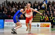 27 February 2020; Ciara Byrne of Scoil Chriost Rí, Portloise in action against Maria Reynolds of Loreto Abbey Dalkey during the Basketball Ireland All-Ireland Schools U19A Girls League Final between Scoil Chríost Rí, Portlaoise and Loreto Dalkey at National Basketball Arena in Dublin. Photo by Eóin Noonan/Sportsfile