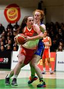 27 February 2020; Ella Byrne of Scoil Chriost Rí, Portloise in action against Molly Garton of Loreto Abbey Dalkey during the Basketball Ireland All-Ireland Schools U19A Girls League Final between Scoil Chríost Rí, Portlaoise and Loreto Dalkey at National Basketball Arena in Dublin. Photo by Eóin Noonan/Sportsfile