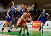 27 February 2020; Rebecca Reddin of Scoil Chriost Rí, Portloise in action against Lara McNichols of Loreto Abbey Dalkey during the Basketball Ireland All-Ireland Schools U19A Girls League Final between Scoil Chríost Rí, Portlaoise and Loreto Dalkey at National Basketball Arena in Dublin. Photo by Eóin Noonan/Sportsfile
