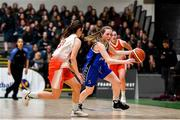 27 February 2020; Lucy McManus of Loreto Abbey Dalkey in action against Amy Byrne of Scoil Chriost Rí, Portloise during the Basketball Ireland All-Ireland Schools U19A Girls League Final between Scoil Chríost Rí, Portlaoise and Loreto Dalkey at National Basketball Arena in Dublin. Photo by Eóin Noonan/Sportsfile