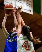 27 February 2020; Allyce Maylnn of Loreto Abbey Dalkey in action against Shauna Dooley of Scoil Chriost Rí, Portloise during the Basketball Ireland All-Ireland Schools U19A Girls League Final between Scoil Chríost Rí, Portlaoise and Loreto Dalkey at National Basketball Arena in Dublin. Photo by Eóin Noonan/Sportsfile