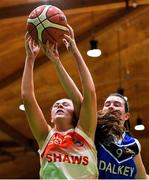 27 February 2020; Sarah Fleming of Scoil Chriost Rí, Portloise in action against Lara McNichols of Loreto Abbey Dalkey during the Basketball Ireland All-Ireland Schools U19A Girls League Final between Scoil Chríost Rí, Portlaoise and Loreto Dalkey at National Basketball Arena in Dublin. Photo by Eóin Noonan/Sportsfile