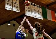 27 February 2020; Molly Garton of Loreto Abbey Dalkey in action against Ella Byrne of Scoil Chriost Rí, Portloise during the Basketball Ireland All-Ireland Schools U19A Girls League Final between Scoil Chríost Rí, Portlaoise and Loreto Dalkey at National Basketball Arena in Dublin. Photo by Eóin Noonan/Sportsfile