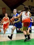 27 February 2020; Lily Egan of Loreto Abbey Dalkey in action against Shauna Dooley of Scoil Chriost Rí, Portloise during the Basketball Ireland All-Ireland Schools U19A Girls League Final between Scoil Chríost Rí, Portlaoise and Loreto Dalkey at National Basketball Arena in Dublin. Photo by Eóin Noonan/Sportsfile