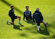 27 February 2020; Jamison Gibson-Park, left, Joe Tomane, centre, and Scott Fardy during a Leinster Rugby captain's run at the RDS Arena in Dublin. Photo by Seb Daly/Sportsfile