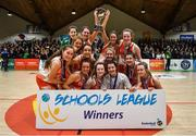27 February 2020; Joint captains Sarah Fleming and Amy Byrne of Scoil Chriost Rí, Portloise lifting the cup among team-mates following the Basketball Ireland All-Ireland Schools U19A Girls League Final between Scoil Chríost Rí, Portlaoise and Loreto Dalkey at National Basketball Arena in Dublin. Photo by Eóin Noonan/Sportsfile