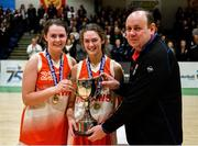 27 February 2020; Joint captains Sarah Fleming, left, and Amy Byrne of Scoil Chriost Rí, Portloise being presented with the cup by PJ Reidy of the Post Primary Schools Committee of Basketball Ireland following the Basketball Ireland All-Ireland Schools U19A Girls League Final between Scoil Chríost Rí, Portlaoise and Loreto Dalkey at National Basketball Arena in Dublin. Photo by Eóin Noonan/Sportsfile