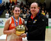 27 February 2020; Sarah Fleming of Scoil Chriost Rí, Portloise being presented with the MVP award by PJ Reidy of the Post Primary Schools Committee of Basketball Ireland following the Basketball Ireland All-Ireland Schools U19A Girls League Final between Scoil Chríost Rí, Portlaoise and Loreto Dalkey at National Basketball Arena in Dublin. Photo by Eóin Noonan/Sportsfile