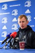 27 February 2020; Head coach Leo Cullen during a Leinster Rugby press conference at the RDS Arena in Dublin. Photo by Seb Daly/Sportsfile