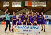 27 February 2020; Skibbereen Community School players celebrate with the cup following the Basketball Ireland All-Ireland Schools U16C Boys League Final between De La Salle Churchtown and Skibbereen CS at National Basketball Arena in Dublin. Photo by Eóin Noonan/Sportsfile