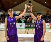 27 February 2020; Joint captains Eividas Andrekius, left, and Stevie Redmond of Skibbereen Community School lifting the cup following the Basketball Ireland All-Ireland Schools U16C Boys League Final between De La Salle Churchtown and Skibbereen CS at National Basketball Arena in Dublin. Photo by Eóin Noonan/Sportsfile
