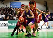 27 February 2020; Dylan Hourihan of Skibbereen Community School in action against Aoamy Elsayed of De La Salle Churchtown during the Basketball Ireland All-Ireland Schools U16C Boys League Final between De La Salle Churchtown and Skibbereen CS at National Basketball Arena in Dublin. Photo by Eóin Noonan/Sportsfile