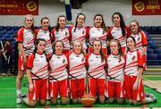 27 February 2020; Virginia College team prior to the Basketball Ireland All-Ireland Schools U16A Girls League Final between SMGS Blarney and Virginia College, Cavan at National Basketball Arena in Dublin. Photo by Eóin Noonan/Sportsfile