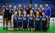 27 February 2020; SMGS Blarney team prior to the Basketball Ireland All-Ireland Schools U16A Girls League Final between SMGS Blarney and Virginia College, Cavan at National Basketball Arena in Dublin. Photo by Eóin Noonan/Sportsfile