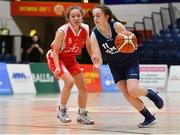 27 February 2020; Issy McSweeney of SMGS Blarney in action against Sydney Gregg of Virginia College during the Basketball Ireland All-Ireland Schools U16A Girls League Final between SMGS Blarney and Virginia College, Cavan at National Basketball Arena in Dublin. Photo by Eóin Noonan/Sportsfile